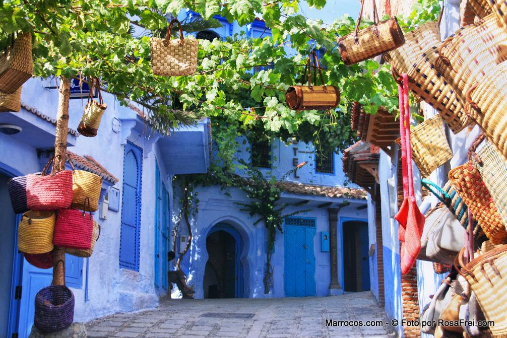 Rua Na Cidade De Chefchaouen Em Marrocos