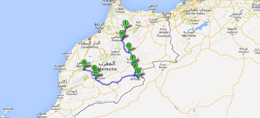 Mapa do Roteiro de 5 dias em Marrocos