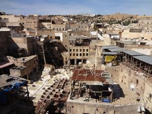 Curtumes na antiga medina de Fes
