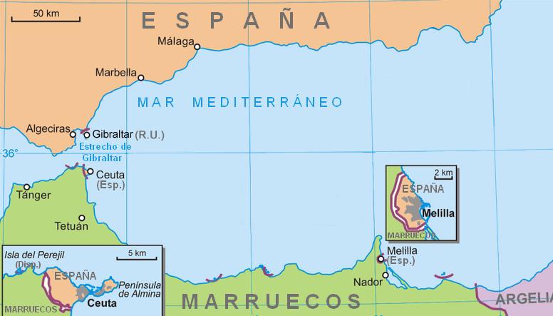 Mapa de Ceuta e Mellila no Norte de Africa