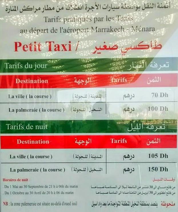 Preços taxi marraquexe