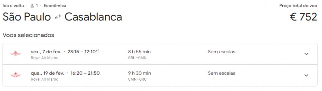 AIR MARROCOS SAO PAULO CASABLANCA