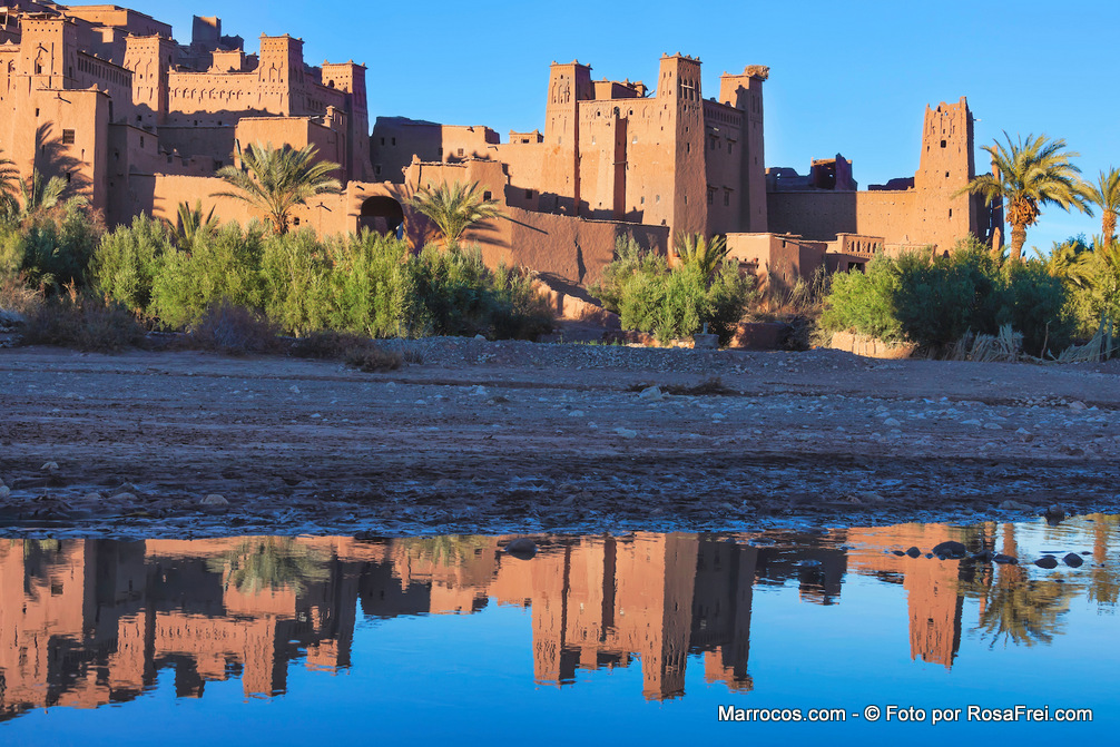 Vários casbás no Ksar de Ait Ben Haddou, local UNESCO Património Mundial da Humanidade em Marrocos