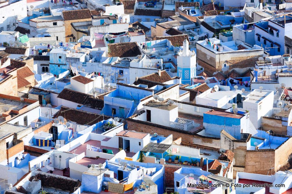 A cidade antiga de Chefchaouen em Marrocos