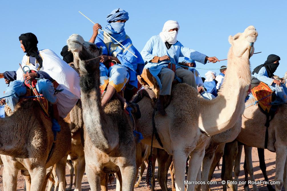 Grupo de nómadas em cima de dromedários com céu azul no deserto do Saara em Marrocos