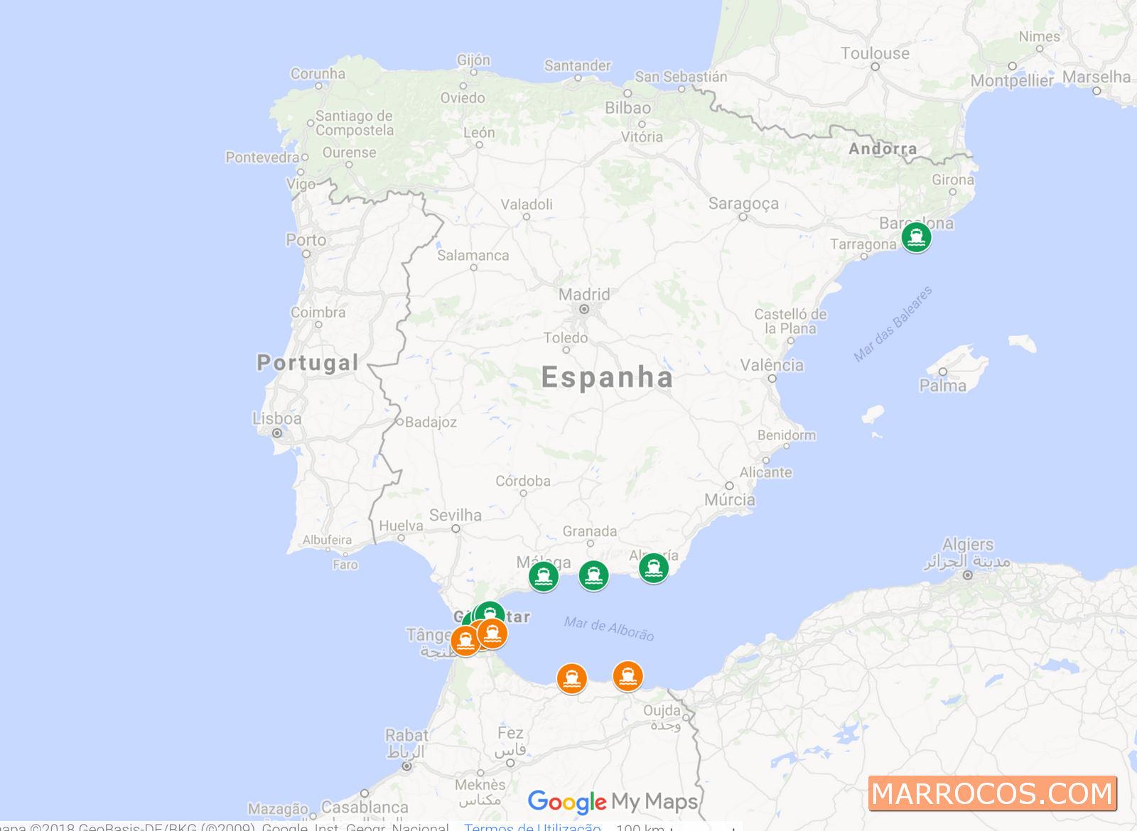 MAPA DOS LOCAIS DE EMBARQUE DO FERRY DE ESPANHA A MARROCOS