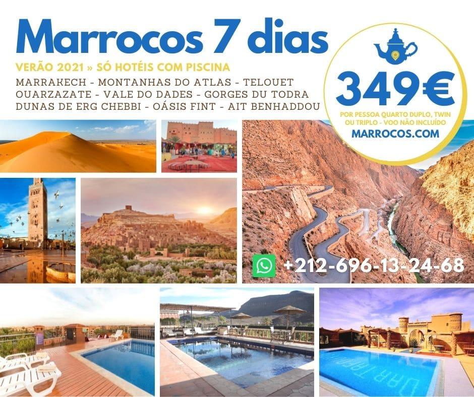 349€ Marrocos 7 Dias - Verão 2021 » Só hotéis com piscina
