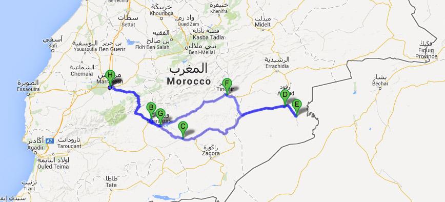 Mapa do Roteiro de 8 dias em Marrocos