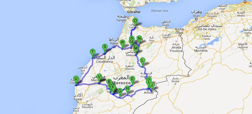 Mapa da viagem de 12 dias em Marrocos