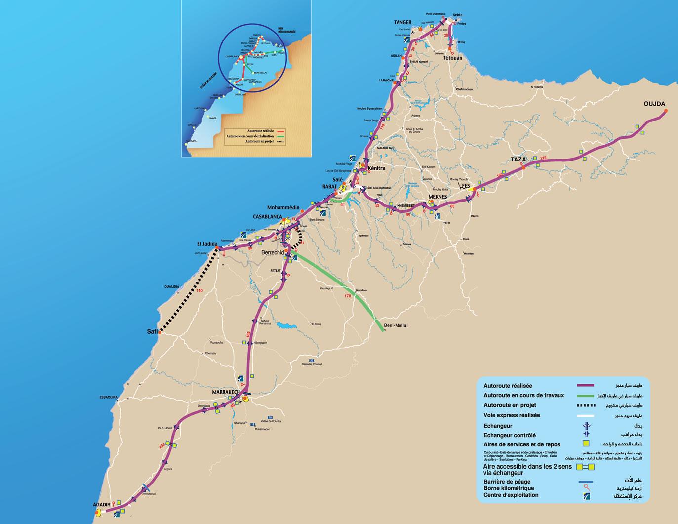 Mapa de carreteras en Marruecos