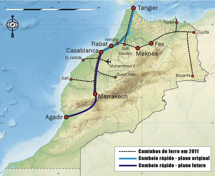 Mapa comboios / trens em Marrocos