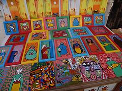 Pinturas de artesanato marroquino em Essaouira