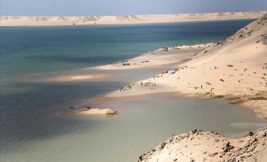 Praia da Baía de Dakhla em Marrocos