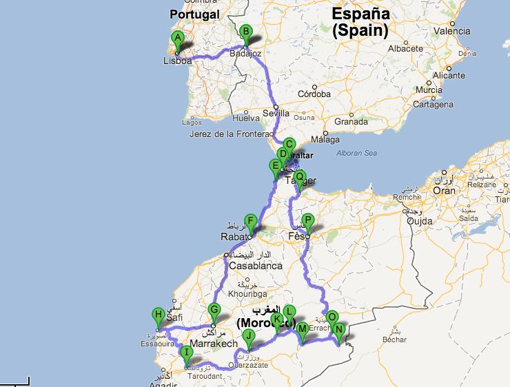 Portugal até Marrocos de carro